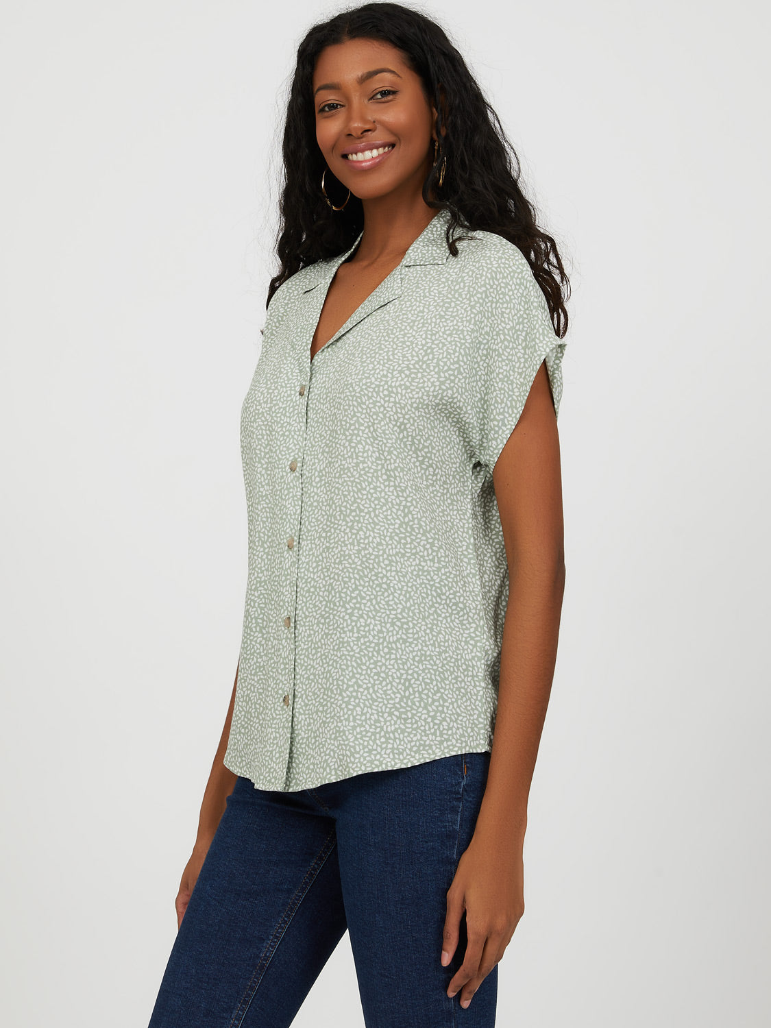 Button-Down Printed Bowling Shirt