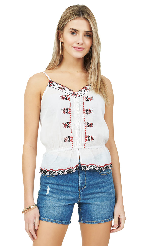 a88f14efbadf2 Sleeveless Embroidered Woven Top Sleeveless Embroidered Woven Top