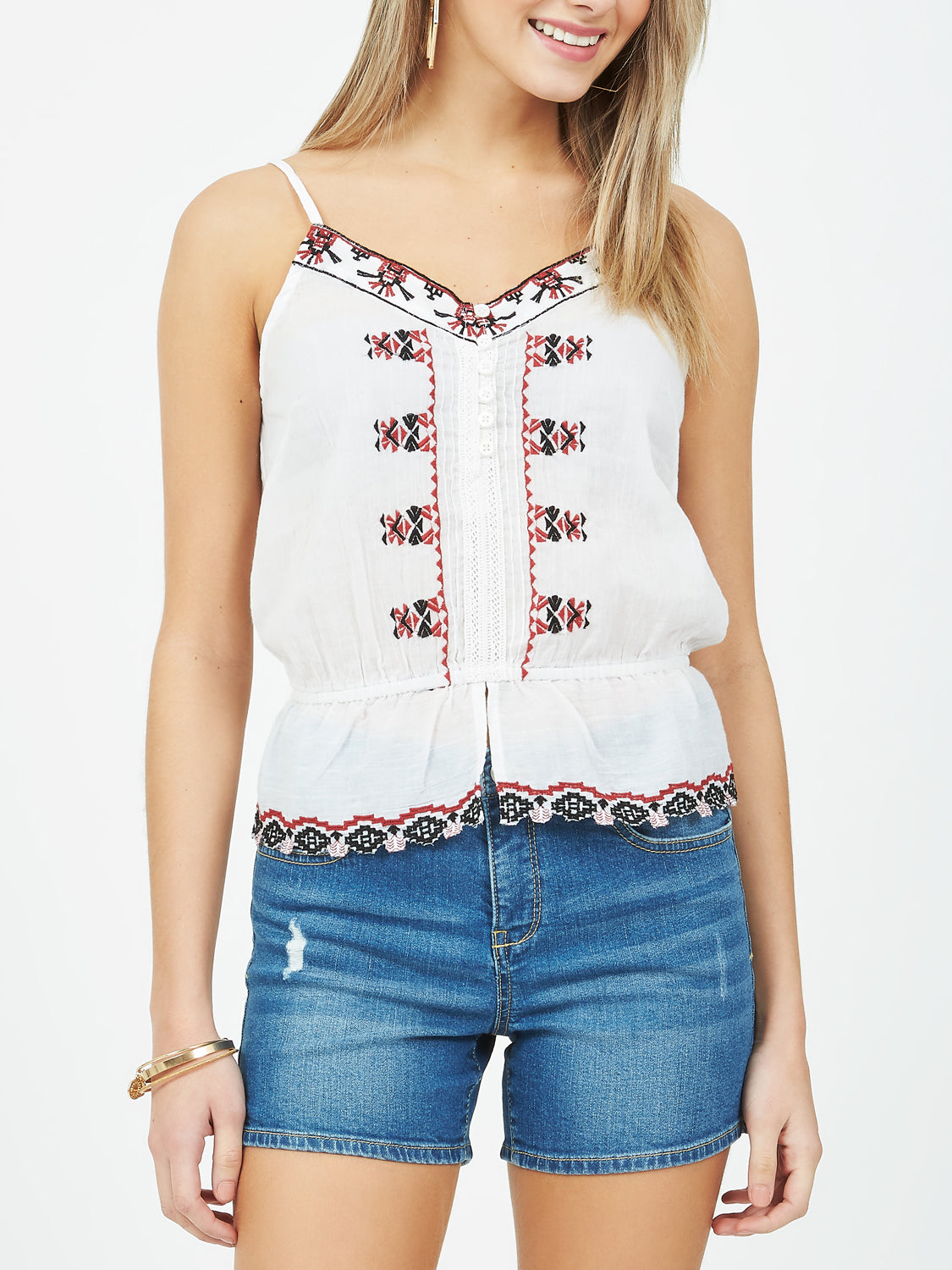 Sleeveless Embroidered Woven Top