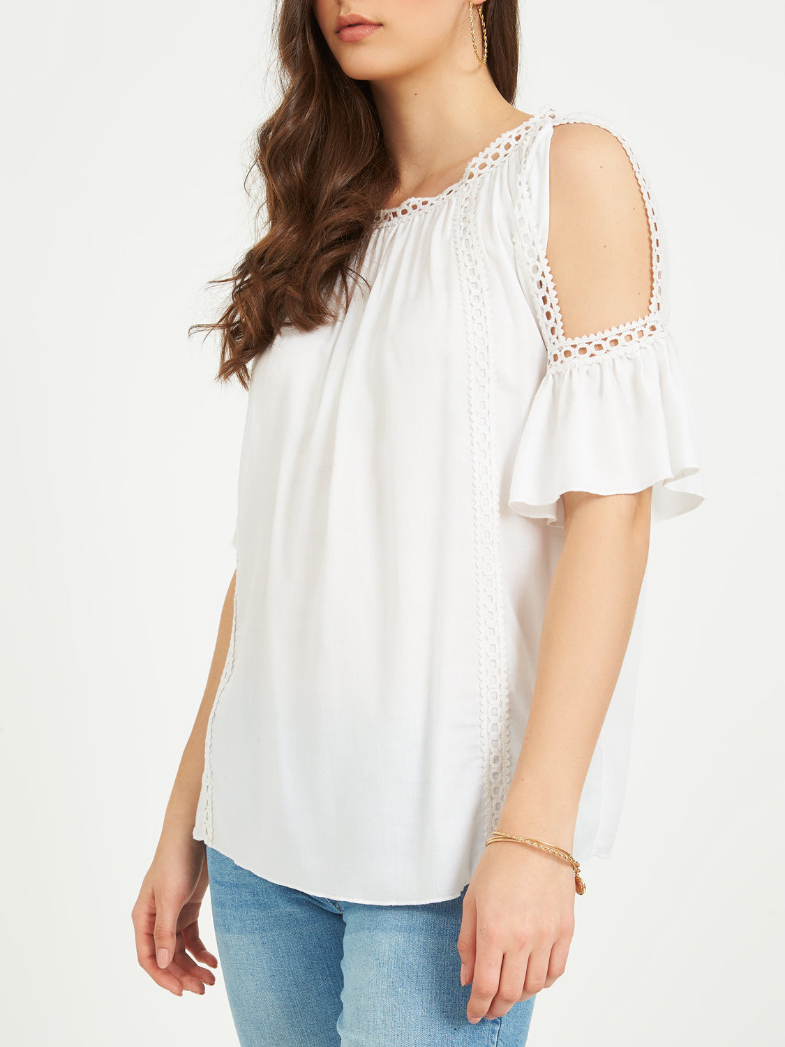 Cold-Shoulder Crochet Peasant Top
