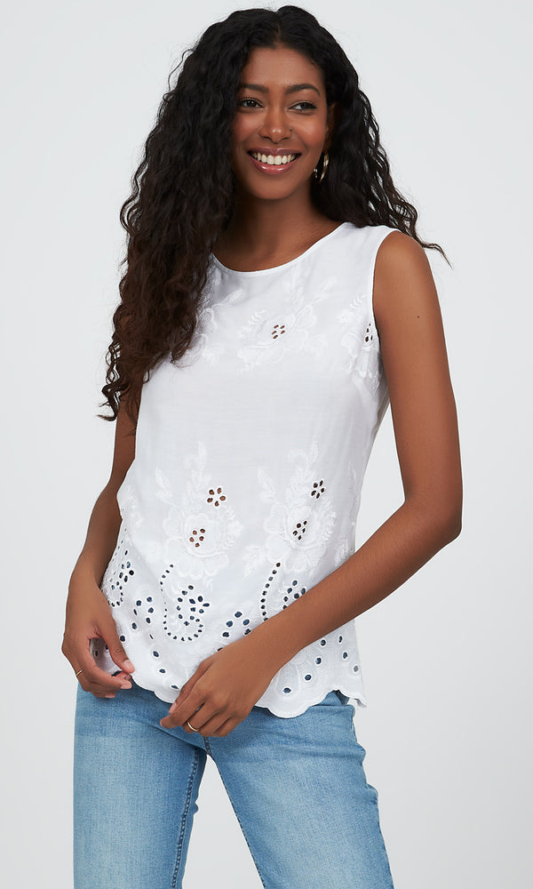 Sleeveless Embroidered Lace Top