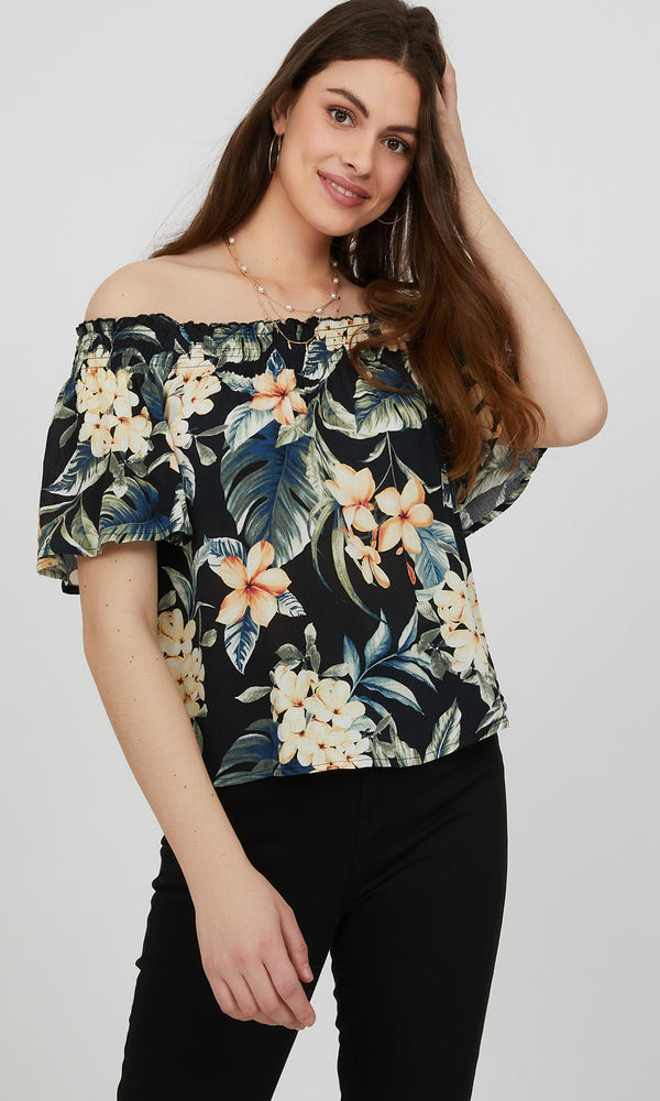 Off-The-Shoulder Tropical Crinkle Top