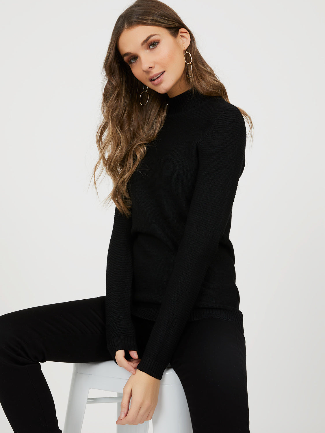 Mock Neck Rib Knit Sweater