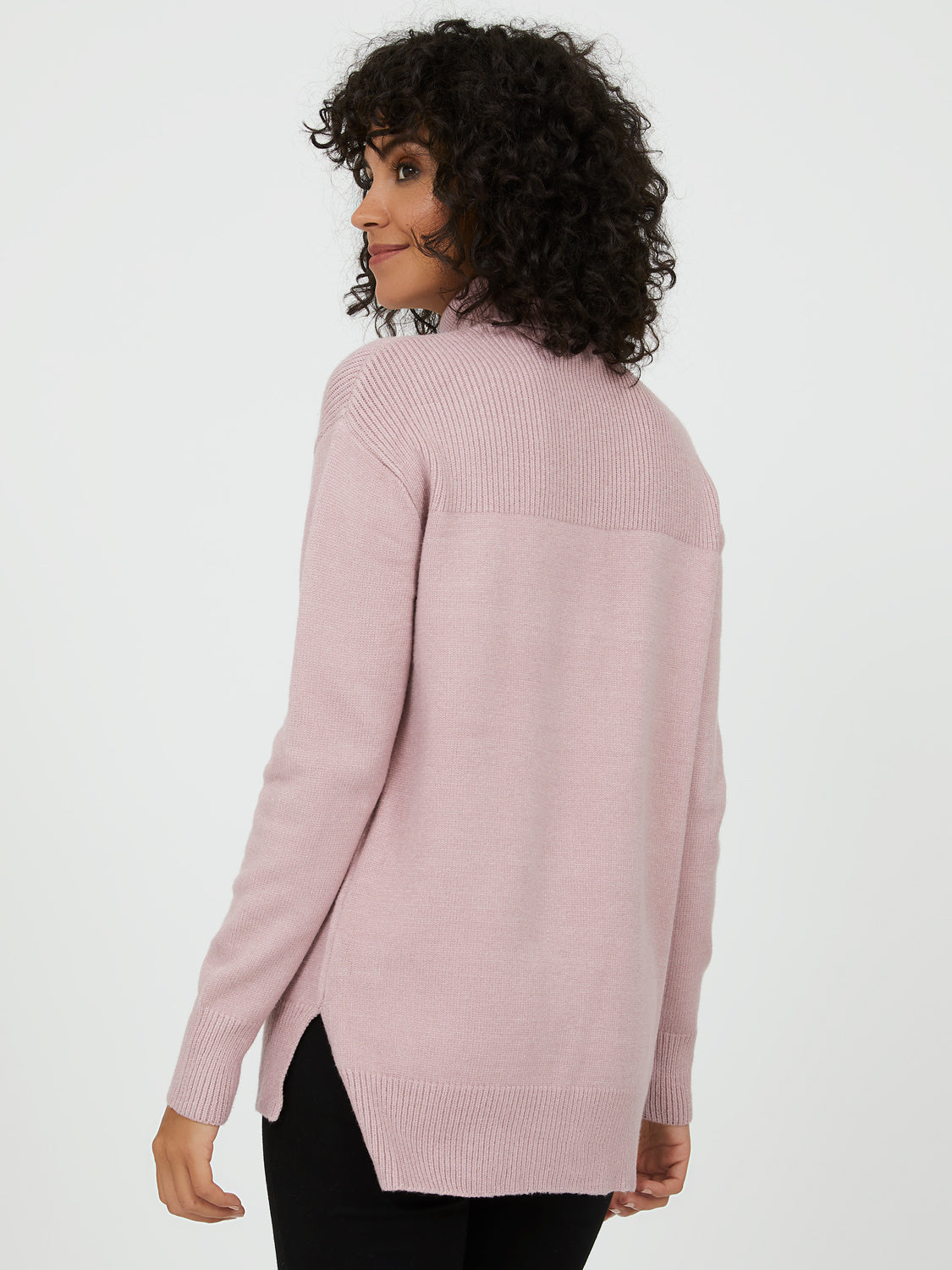 Turtleneck Sweater with Ribbed Details