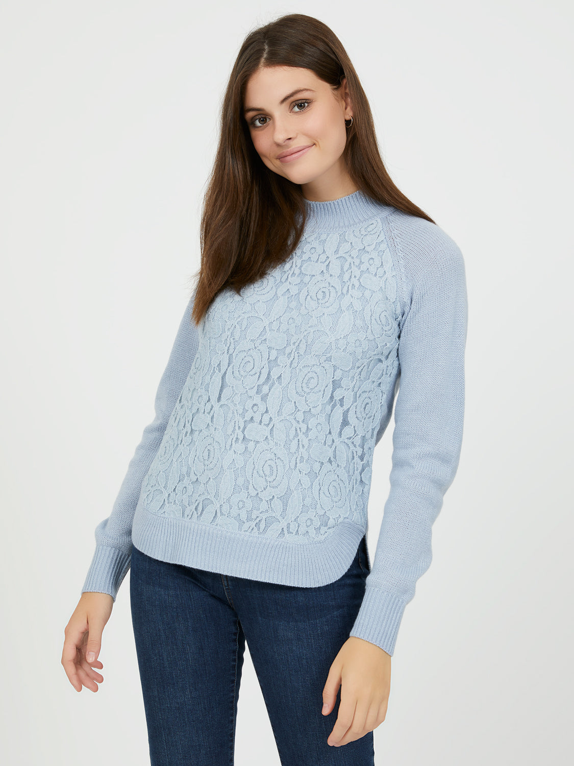 Long Sleeve Lace Appliqué Sweater