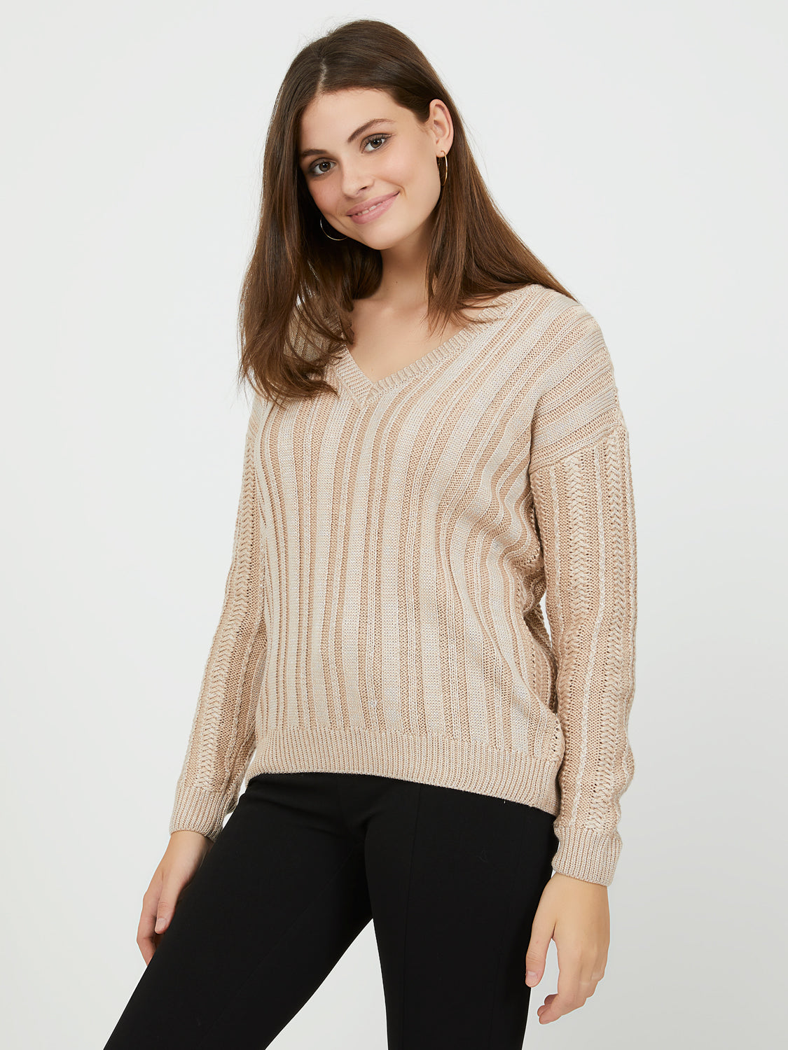 Long Sleeve Metallic V-Neck Sweater