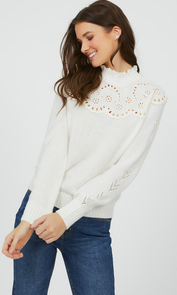 Eyelet Mock Neck Sweater
