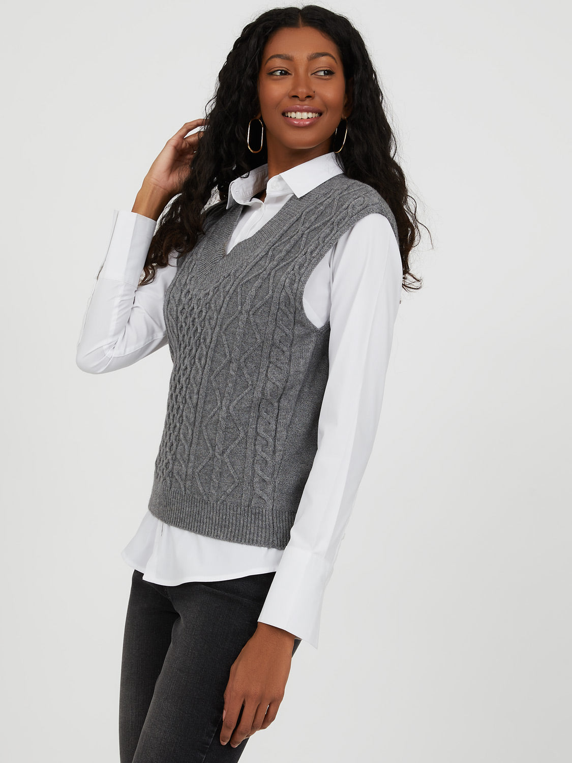 Sleeveless Cable Knit Sweater Vest