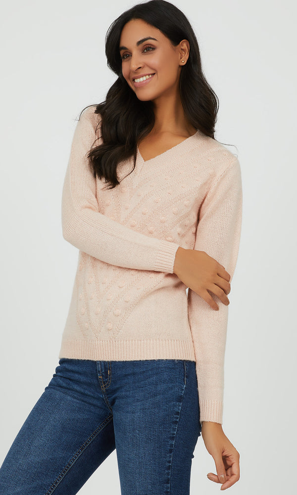 Jacquard Dot V-Neck Sweater