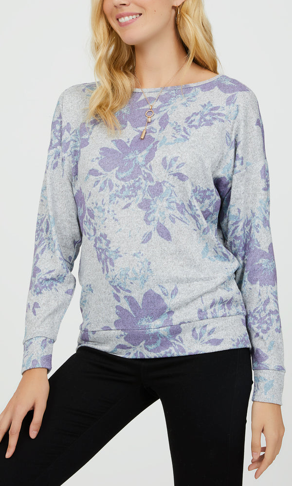 Floral Brushed Mélange Top