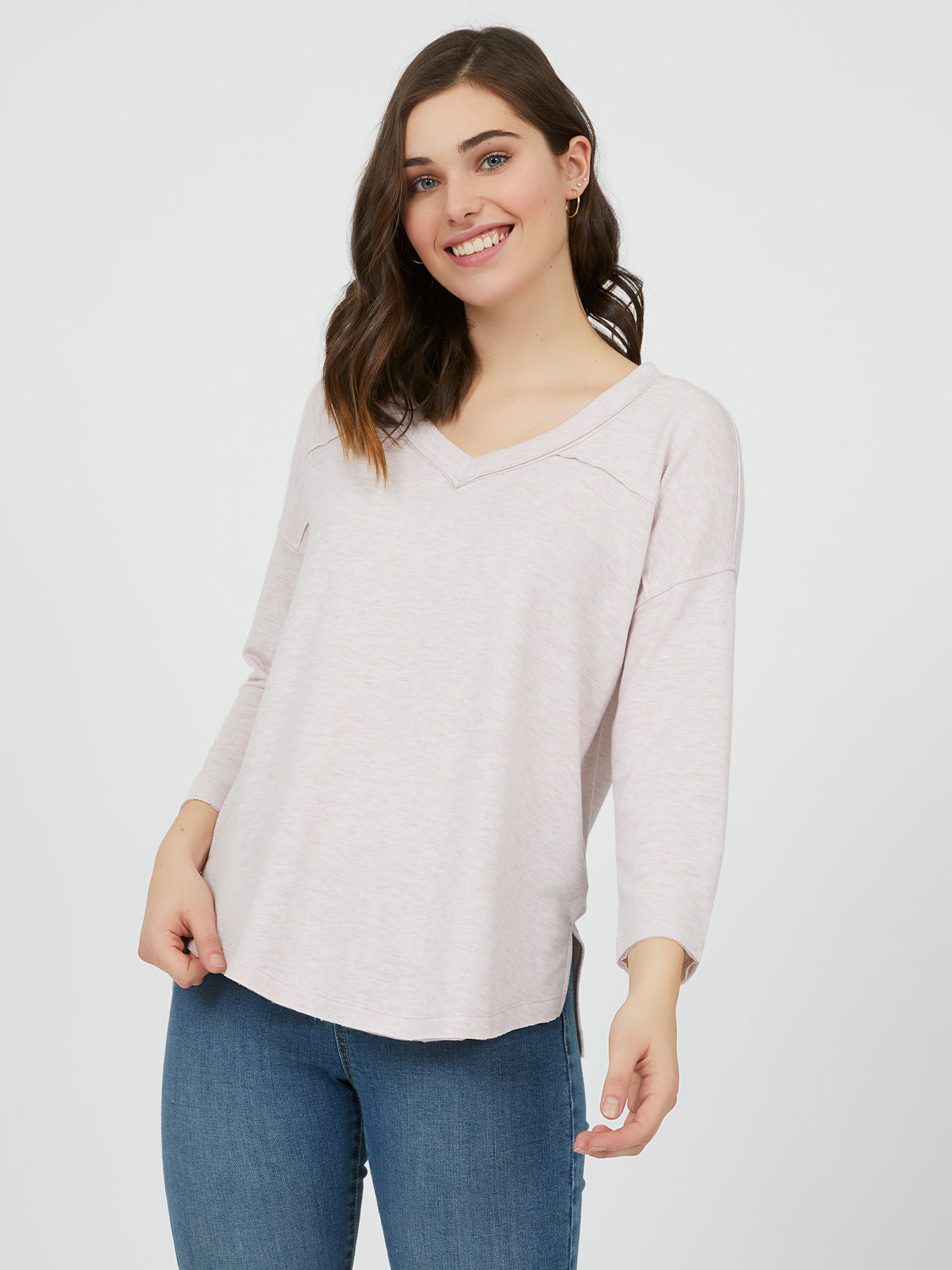 V-Neck High-Low Knit Top