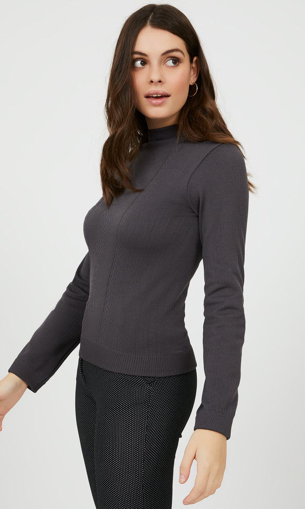 Fleece Lined Jacquard Knit Top