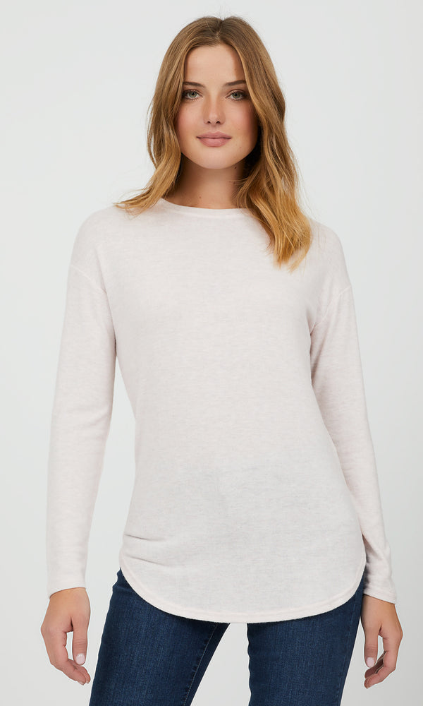 Long Sleeve Mélange Knit Top