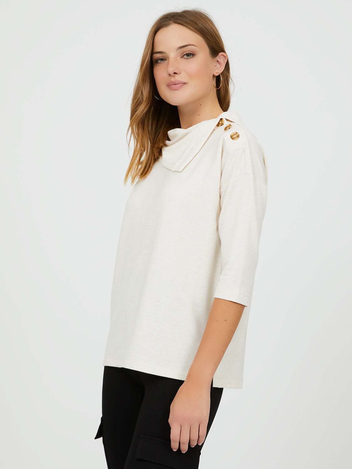 ¾ Sleeve Mélange French Terry Top