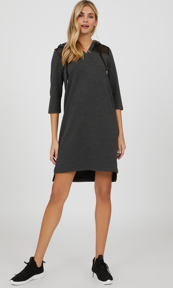 Mesh Shoulder Fleece Mélange Knit Mini Dress