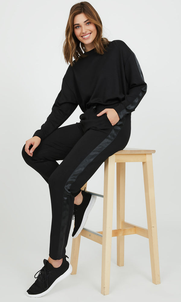 Satin Trim Sleeve Jersey Sweatshirt