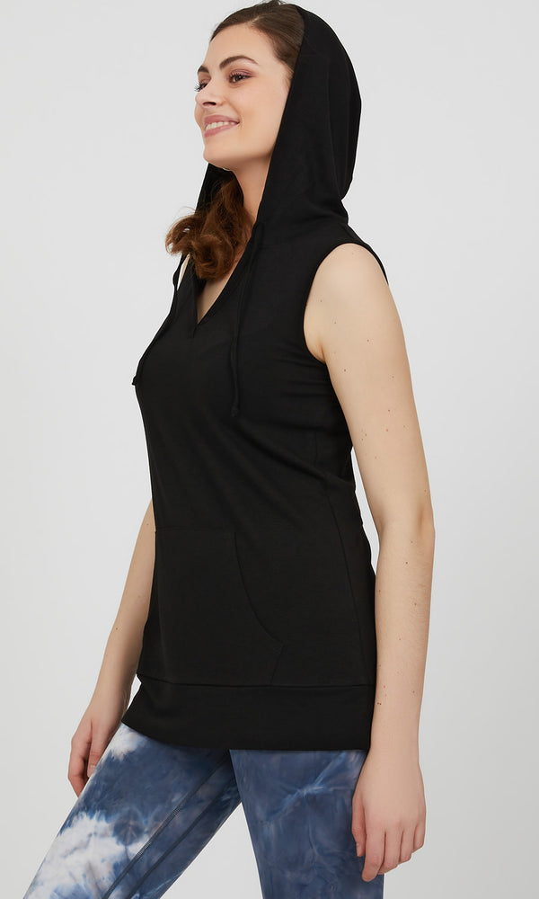 Sleeveless French Terry Hoodie Tank Top