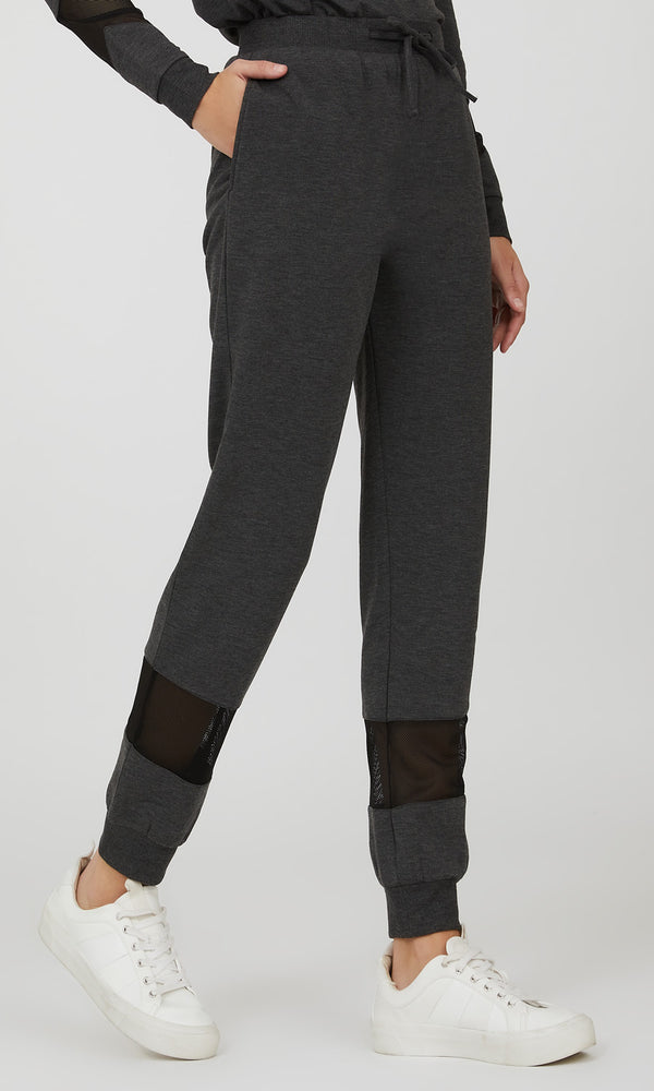 Mesh French Terry Fleece Mélange Jogger