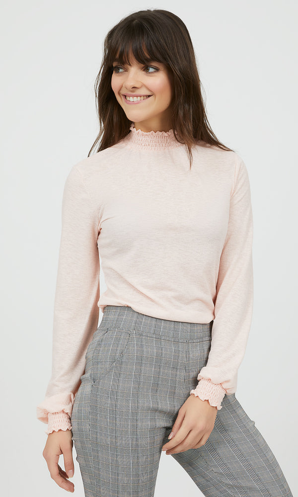 Textured Mock Neck Top