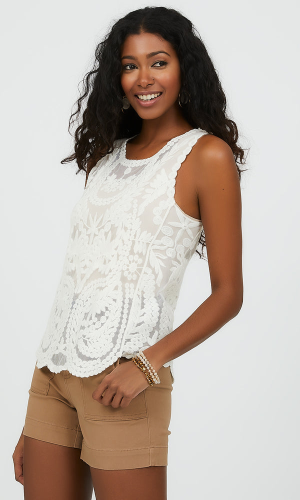 Sleeveless Embroidered Mesh Top