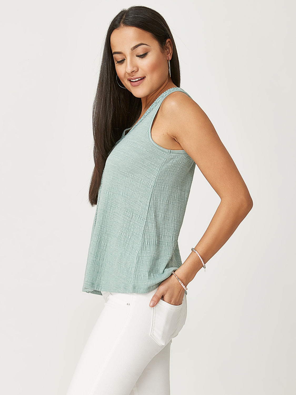 V-Neck Crinkle Tank Top