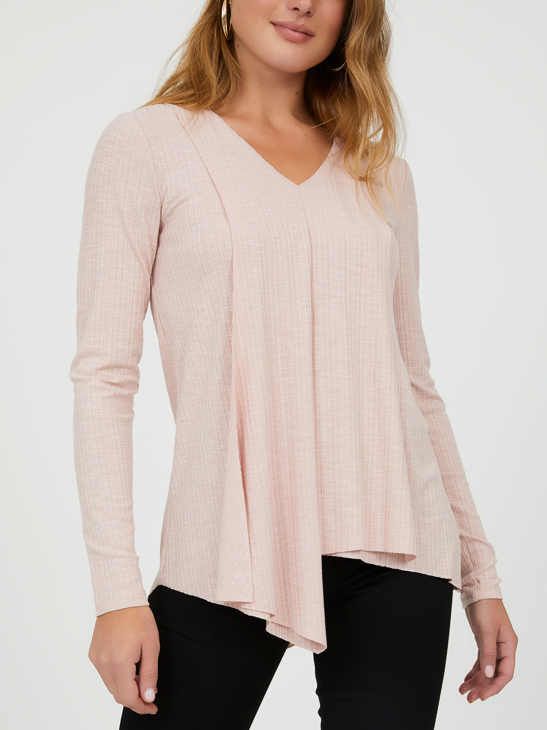 Long Sleeve Asymmetrical V-Neck Top
