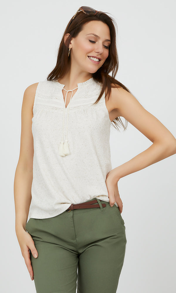 Sleeveless Jacquard Linen Knit Top