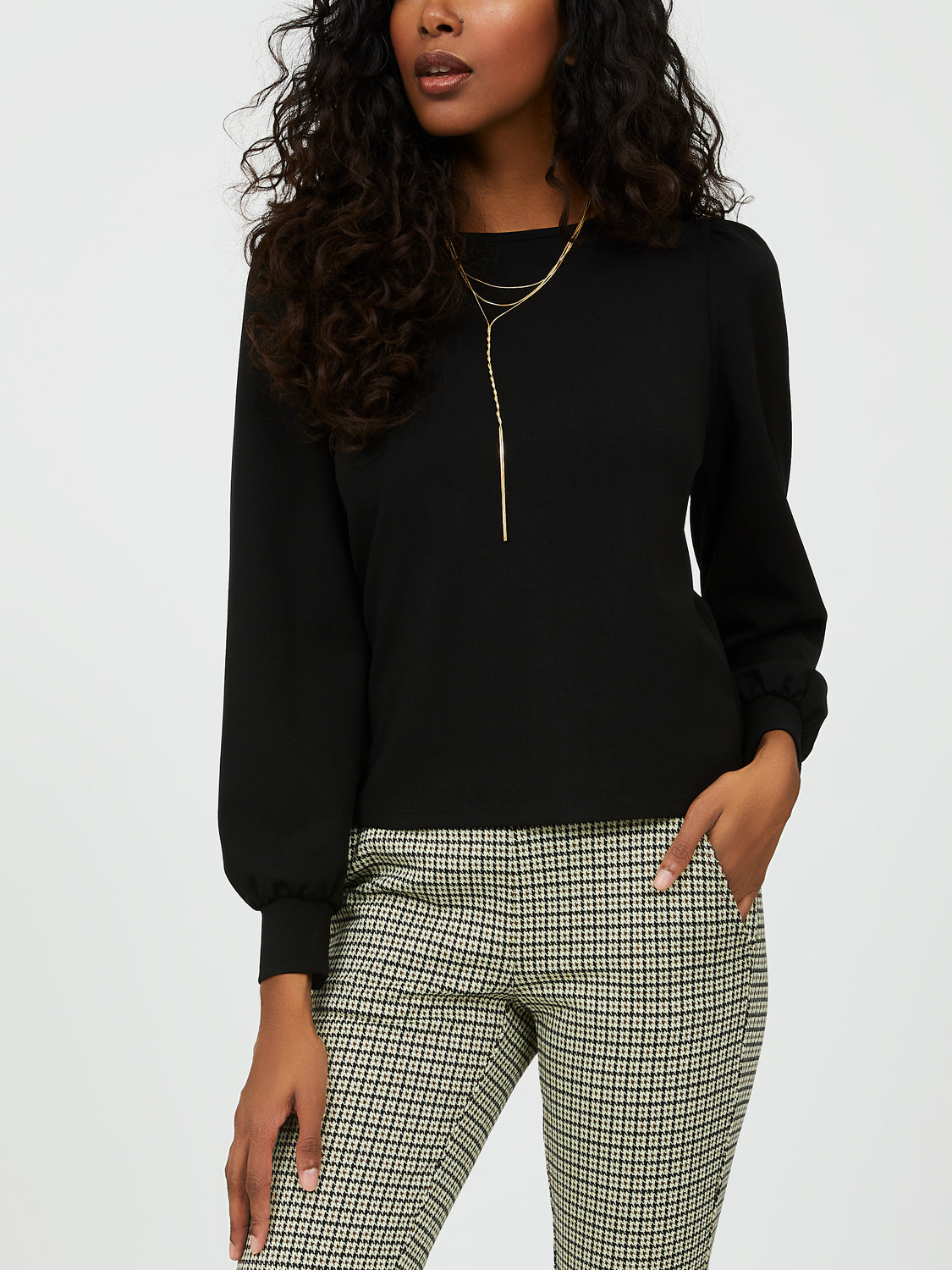 Poof Sleeve Crepe Knit Top