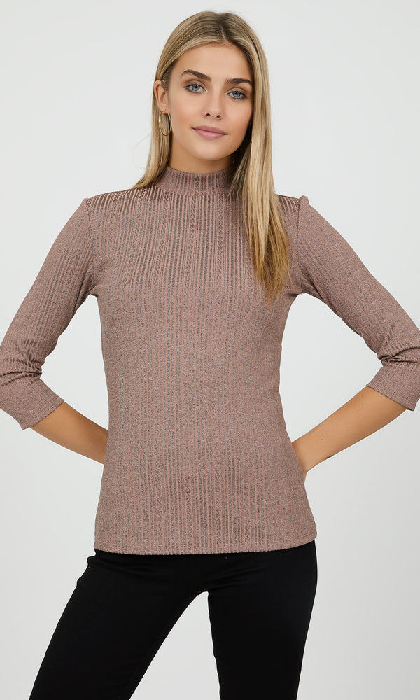 ¾ Sleeve Mélange  Knit Top