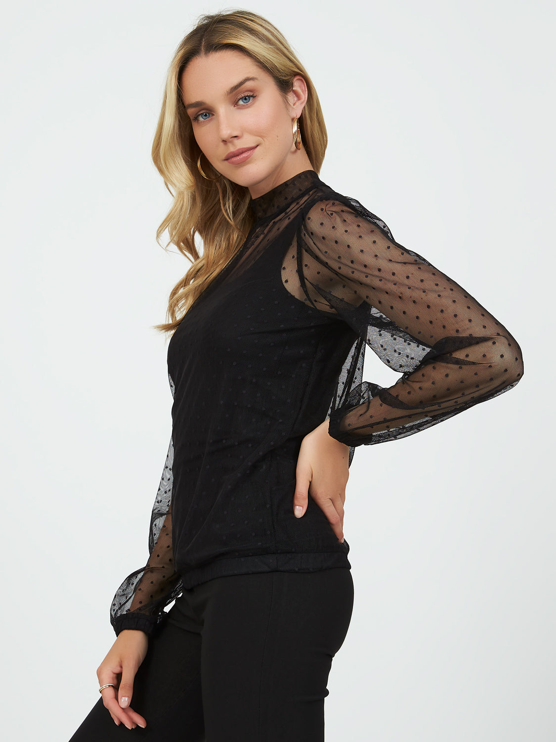 Long Sleeve Mesh Swiss Dot Top