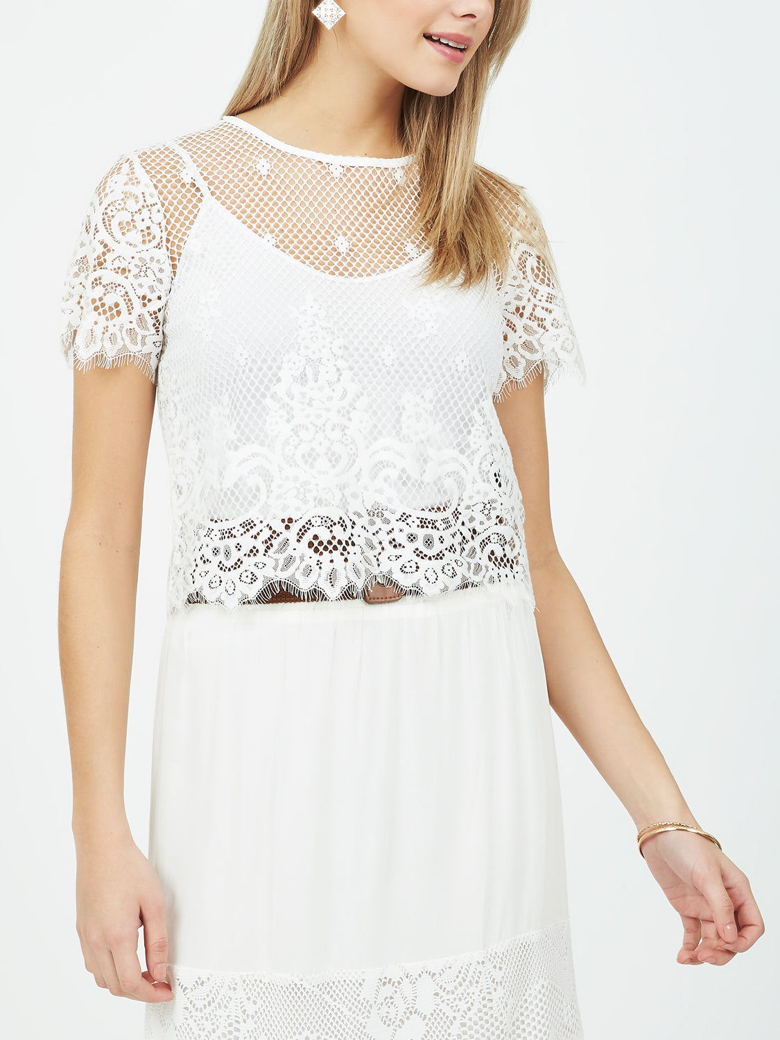 Fishnet Scalloped Lace T-Shirt