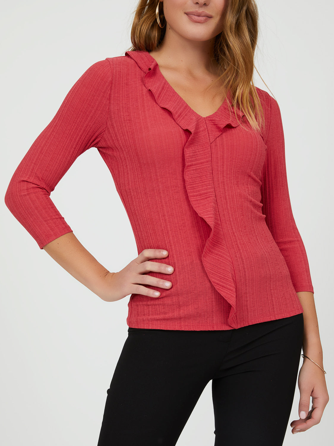 Variegated Rib Knit Ruffle Top
