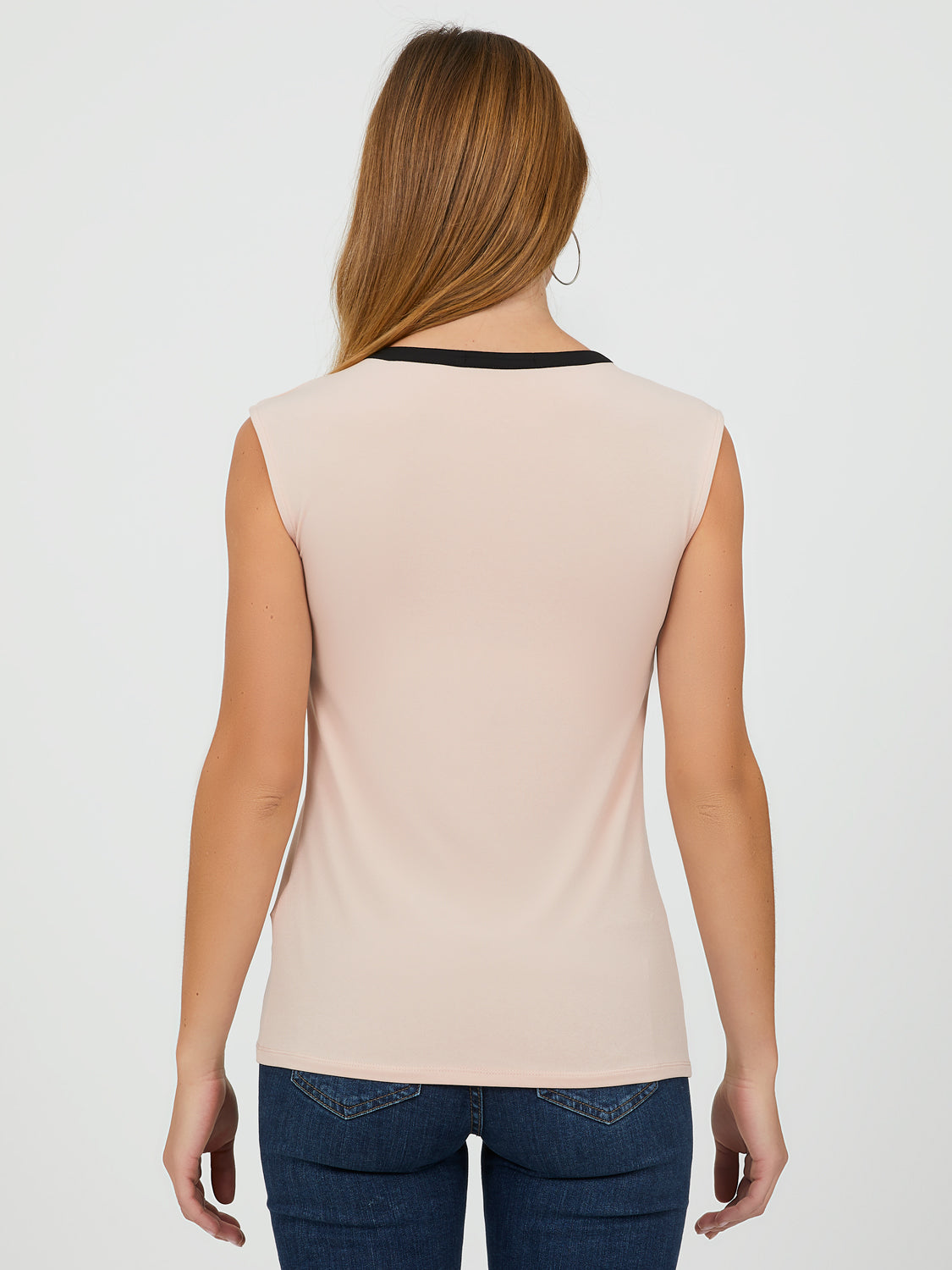 Sleeveless Contrast Trim Top