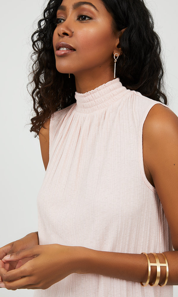 Sleeveless Rib Knit Mock Neck Top