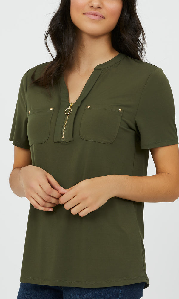 Half-Zip Short Sleeve Top