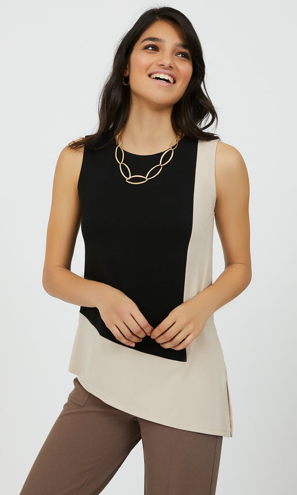 Asymmetrical Colour Block Tank Top
