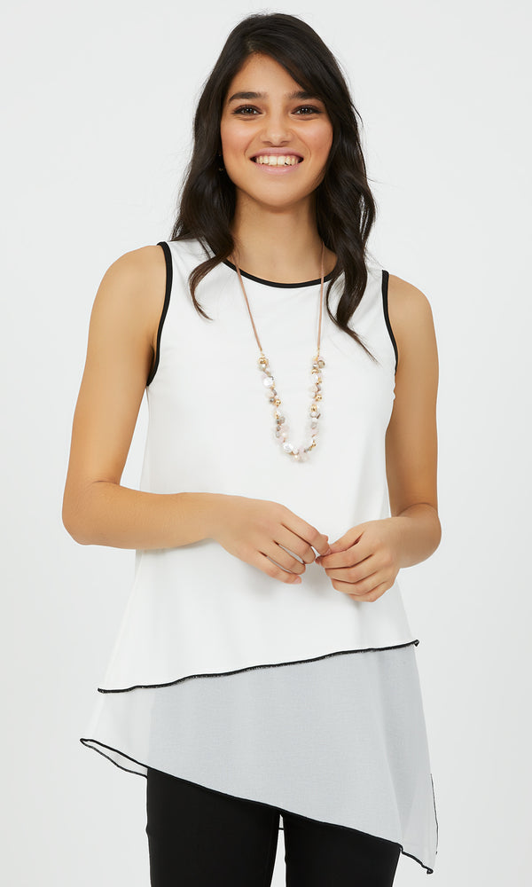 Sleeveless Asymmetrical Chiffon Tank Top