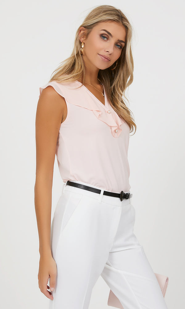 Sleeveless Ruffle Chiffon Top