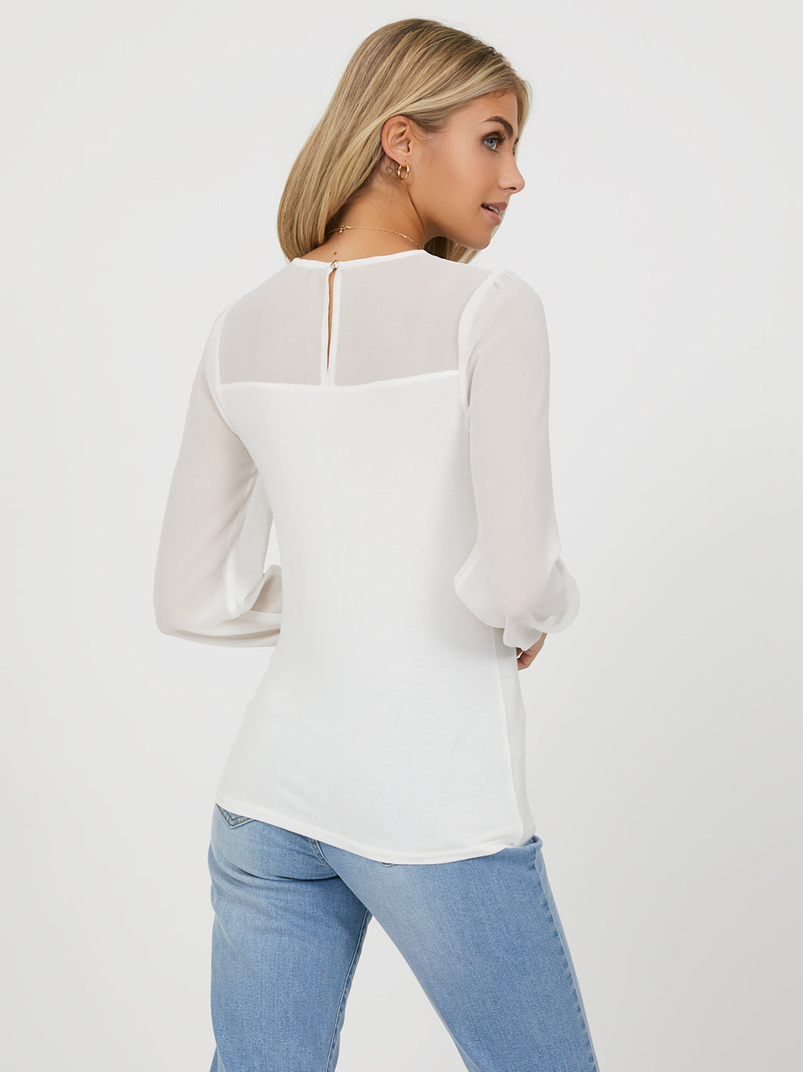 Puff Sleeve Chiffon Top