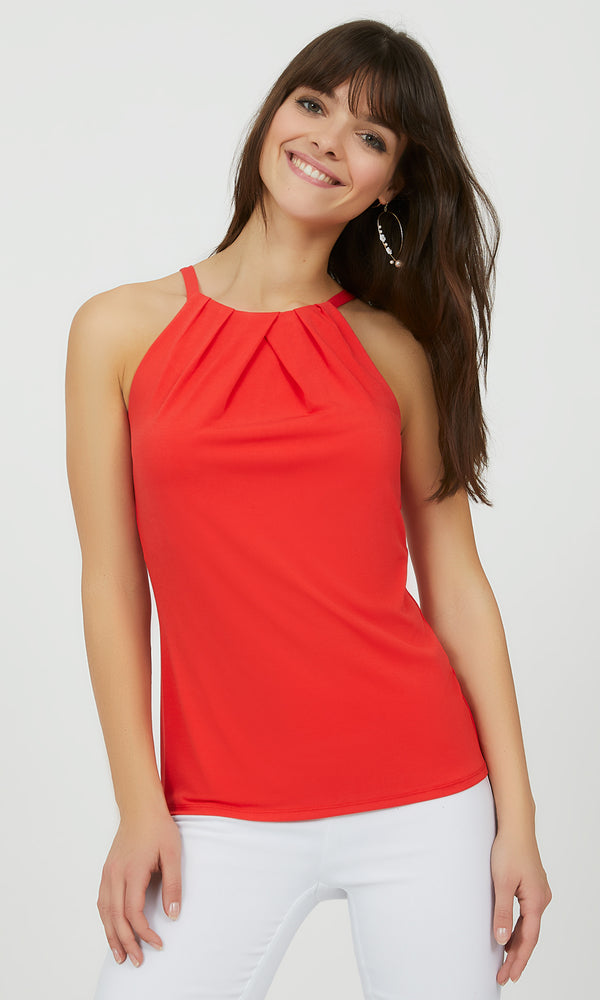 Pleated Halter Tank Top