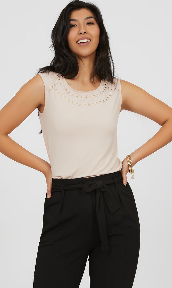 Sleeveless Gold Stud Knit Top