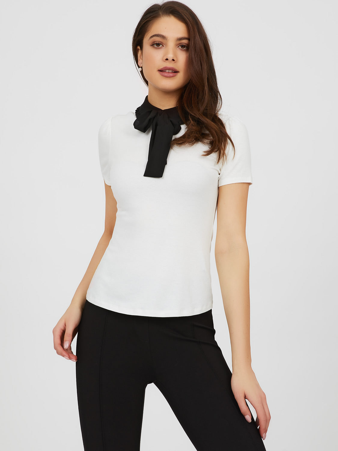Tie Neck Chiffon Collar Top