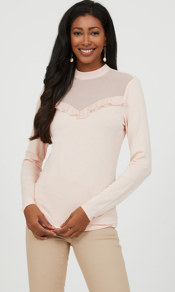Ruffled Mock Neck Jersey Knit Top
