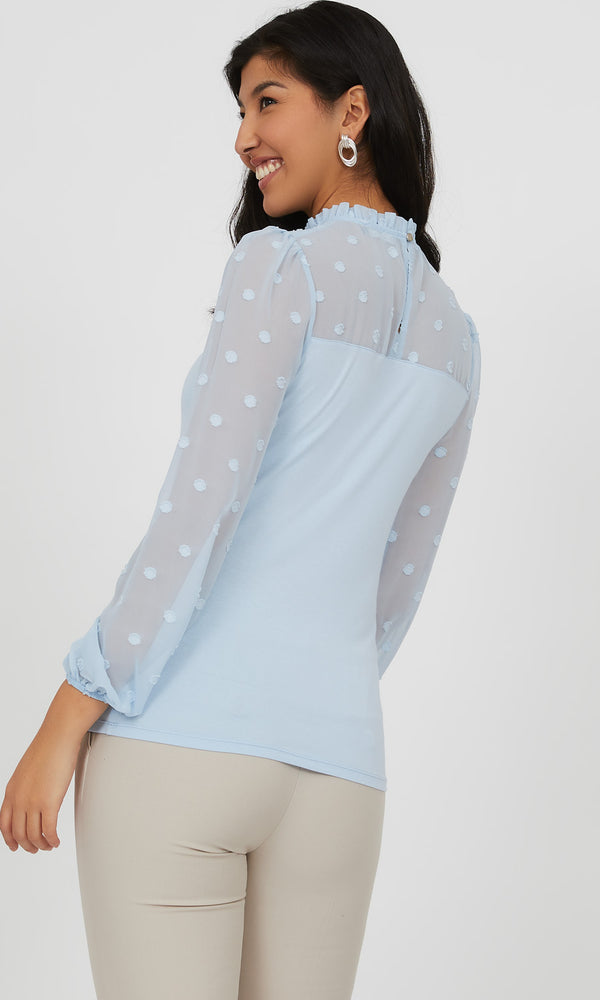 Swiss Dot Chiffon Sleeve Top