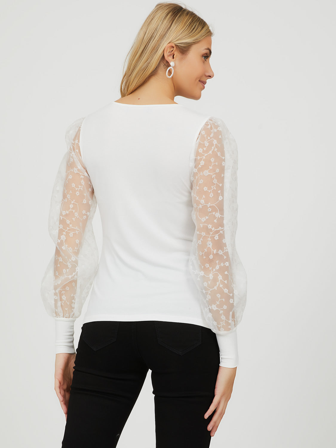 Organza Sleeve Crepe Knit Top