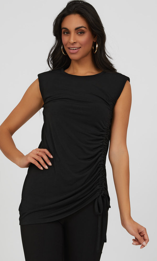 Sleeveless Shoulder Pad Tunic Top