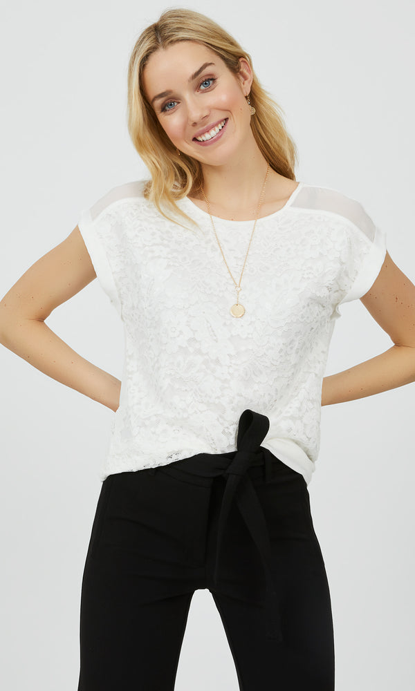 Chiffon Dolman Sleeve Lace Top