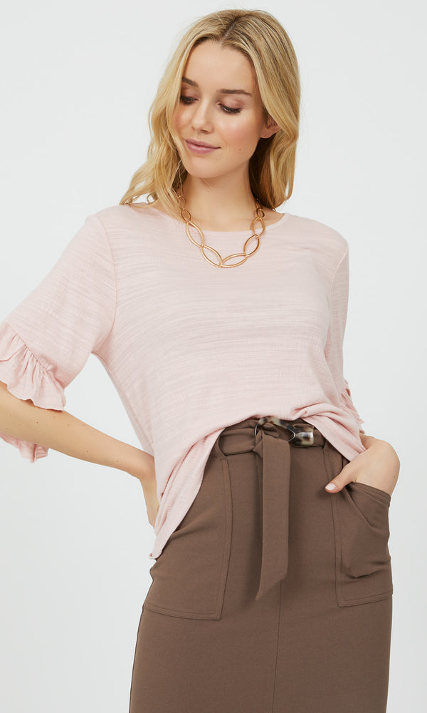 Ruffle Elbow Sleeve Crinkle Top