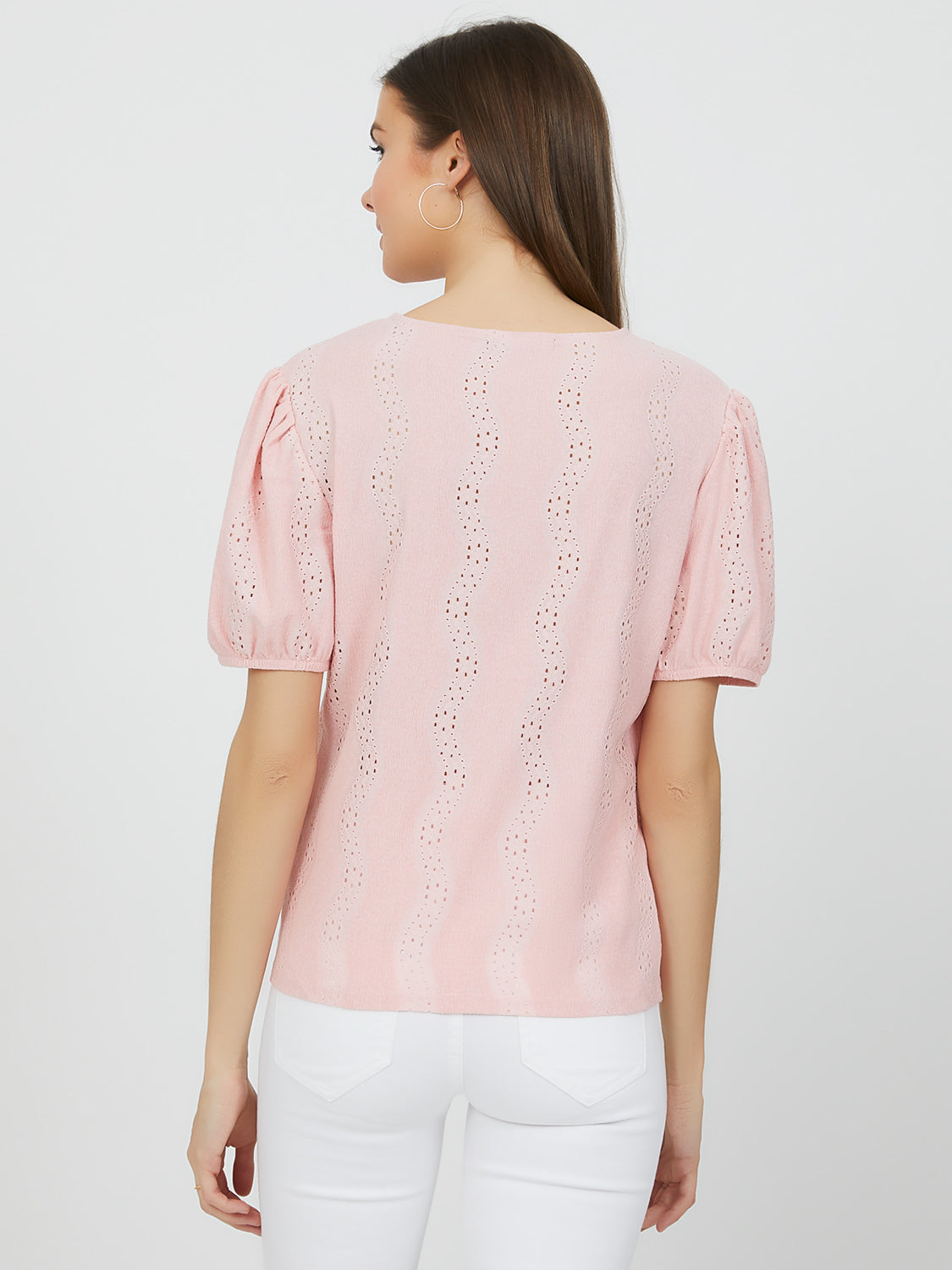Short Puff Sleeve Eyelet Top