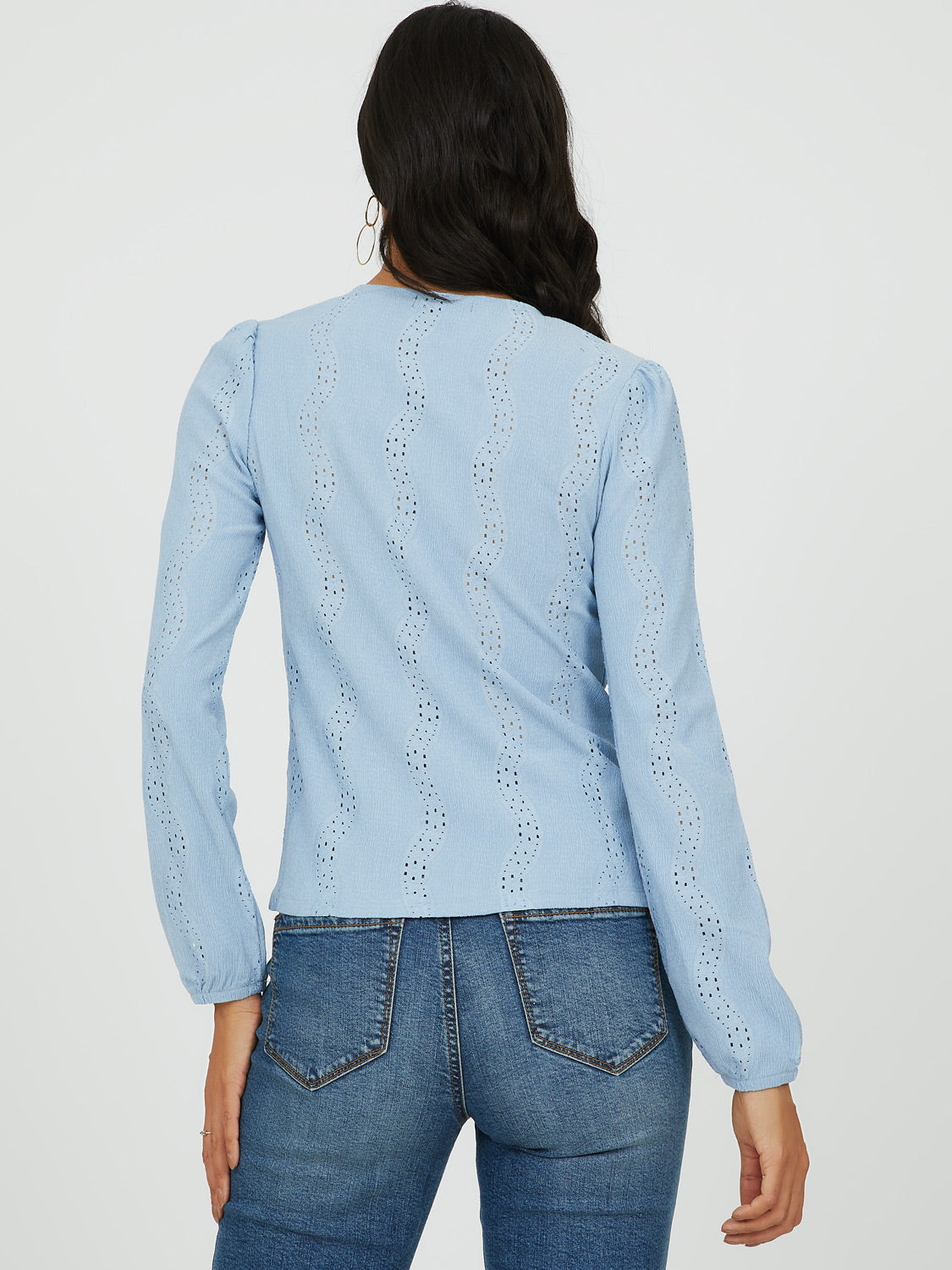 Puff Sleeve Jacquard & Eyelet Top